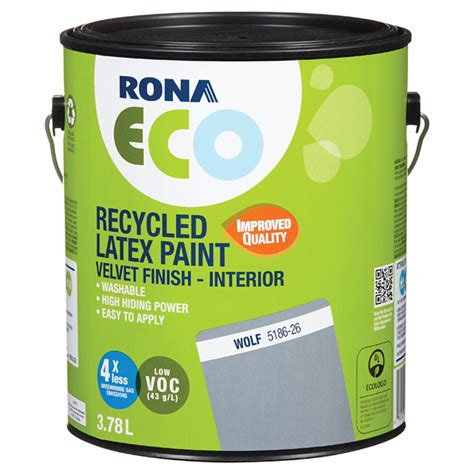 recycled latex paint velvet finish wolf 3 78 l rona