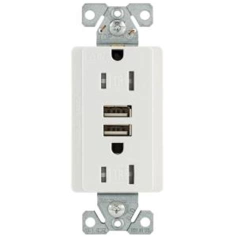 Home Bar Outlet by Eaton 15 125 Volt Combination Outlet And 2 Usb 3 1