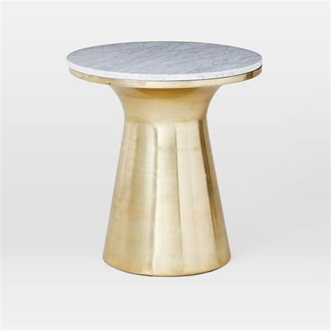 west elm side table marble topped pedestal side table white marble antique