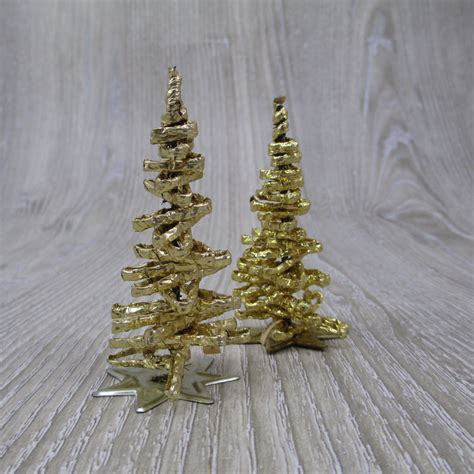 two vintage west german gold tinsel christmas trees retro foil