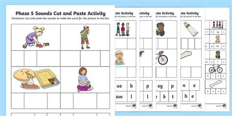 phase 5 sounds cut and paste worksheet activity sheets