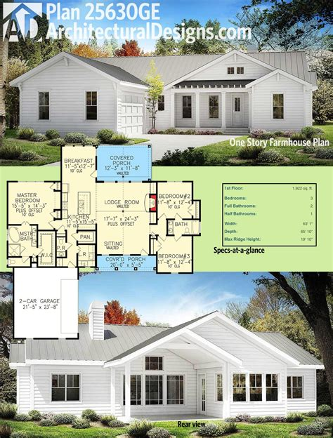 One Story Farmhouse Plans by Plan 25630ge One Story Farmhouse Plan Farmhouse Plans
