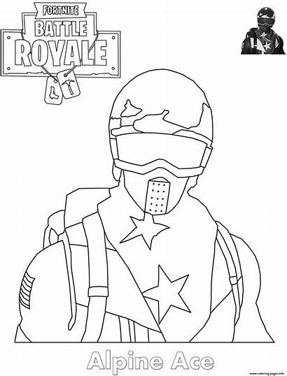 Fortnite Coloring Pages Skin Ace Printable Alpine