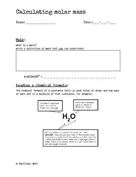 Calculating Molar Mass Worksheet (high School Chemistry) By Samuel Squillace
