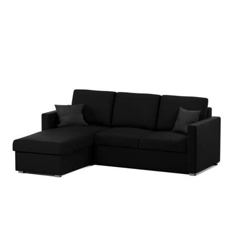 canapé noir tissu jules canapé d 39 angle convertible 4 places 220x166 cm