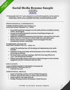 Social Media Marketing Resume Exles by Social Media Resume Sle Resume Genius