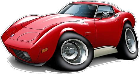 1973-76 Chevy Corvette L48 350 Turbo Fire Cartoon Graphic