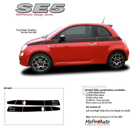 Fiat 500 Graphics by 2011 2017 Se 5 Fiat 500 Abarth Stripes Decals Vinyl