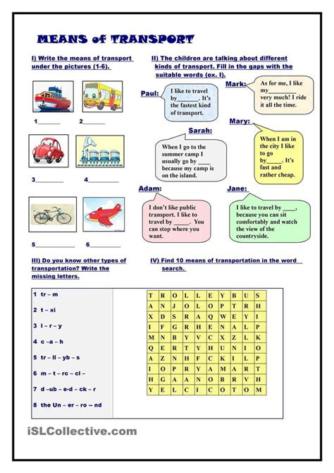 32 best about means of transport on aarhus vocabulary worksheets and