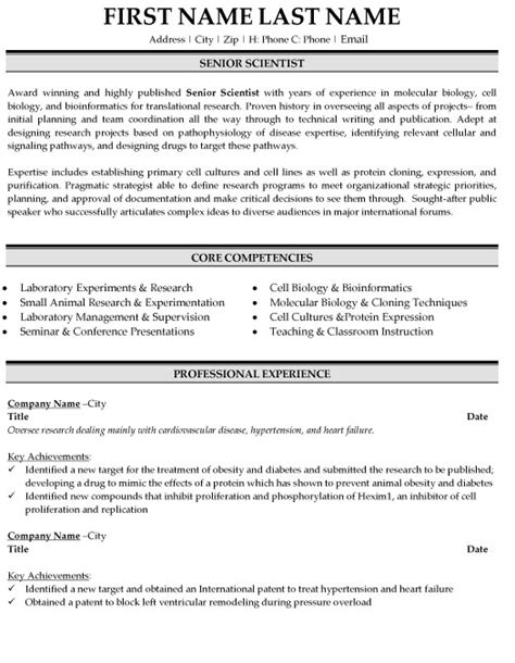 Senior Scientist Resume Exles senior scientist resume sle template