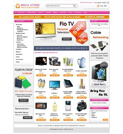 magento templates mega store premium magento theme from mage support