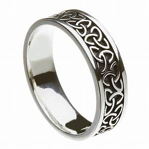 Solid trinity knot silver band celtic wedding rings for Silver band wedding rings