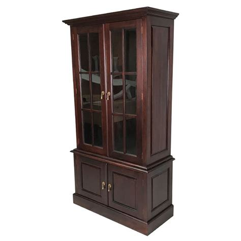 Bookcase With Cupboard by Solid Mahogany Wood Bookcase With Glass Doors And Cupboard