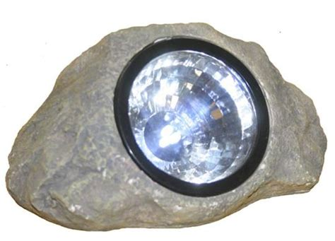 gray solar powered landscape rock light
