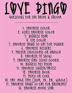list of questions for the bride and groom to play love With wedding shower for bride and groom