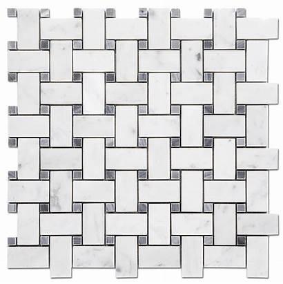 Marble Tile Mosaic Polished Grey Bianco Basketweave