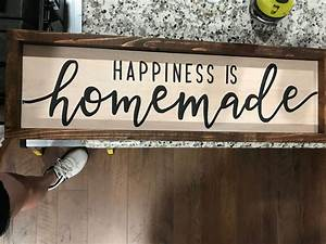 Wood, Sign, Quote, Custom, Cute, Home, Decor, Simple, Happiness, Is, Homemade
