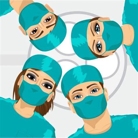 surgeon team  work  operating room stock vector