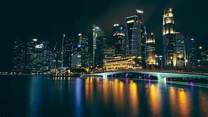 Night Buildings Reflections 4k Uhd Widescreen