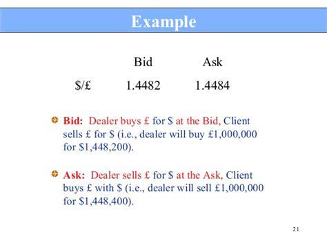 Bid Rate Bid And Ask Rate In Forex Exle