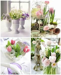 deco de table paques avec des fleurs en 48 idees inspirantes With tapis chambre bébé avec composition de fleurs sechees