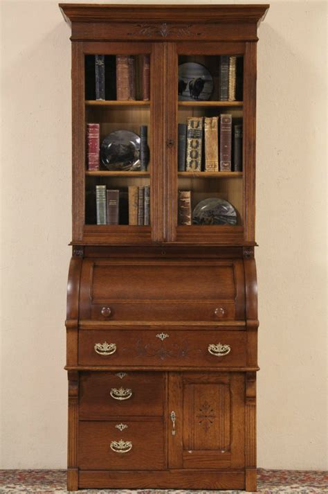 sold victorian eastlake  antique oak cylinder roll top secretary desk bookcase harp