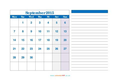 september calendar monthly calendar templates uk