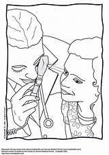 Coloriage Medecin Coloring Examen Oog Colorare Disegno Vue Kleurplaat Visita Doctor Augenuntersuchung Malvorlage Eye Onderzoek Oculistica Immagine Popular Kleurplaten Schulbilder sketch template