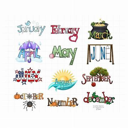 Calendar Clipart Monthly Month Planner Stickers June