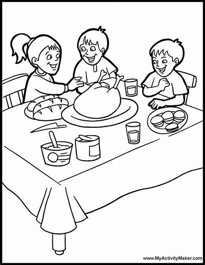 Coloring Dinner Table Thanksgiving Pages Eating Dining
