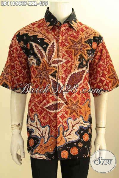 pakaian batik bagus spesial untuk pria gemuk baju kemeja batik lengan pendek furing motif