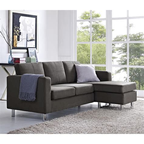 small spaces 2 piece configurable gray sectional sofa
