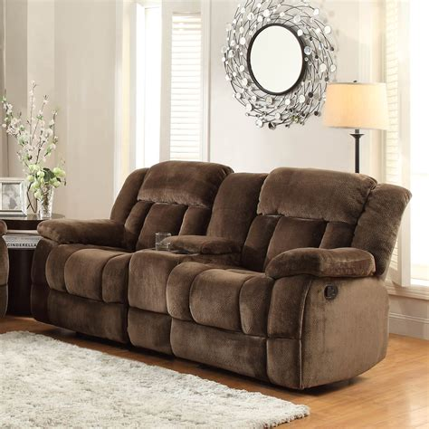microfiber reclining sofa with console homelegance laurelton doble glider reclining loveseat w