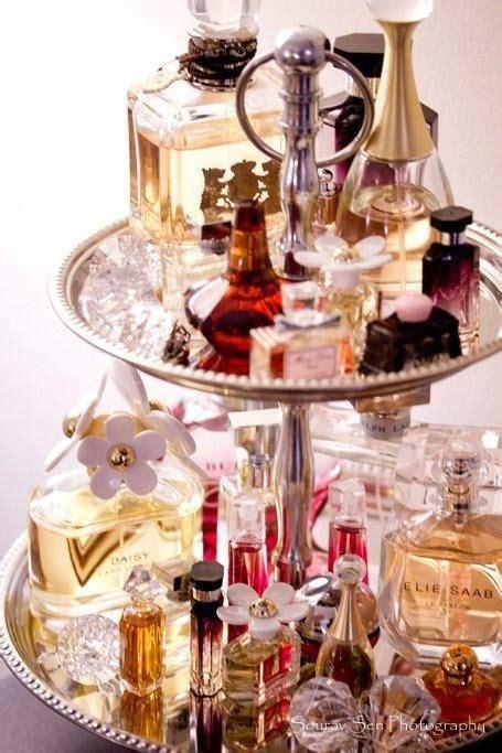 repurposing  plate shelf  perfume bottles vintage tiered cake stand fragrance display