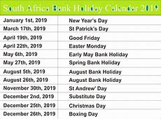 Free Bank Holiday 2019 South Africa Calendar Templates