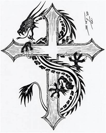 Tribal Dragon Cross Tattoos Tattoo Cool Designs