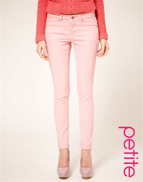 light pink skinny jeans lyst asos collection asos petite pale pink skinny jeans