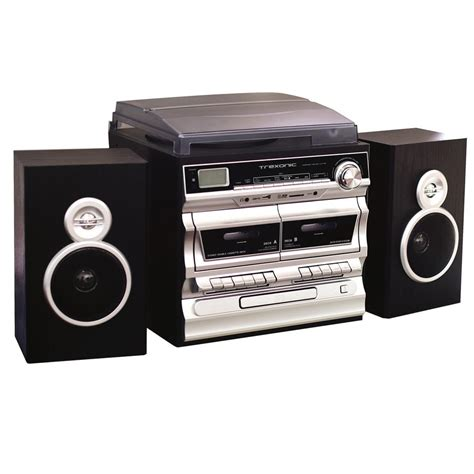 cassette cd radio player victrola retro style turntable with bluetooth and cd