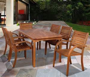 amazonia orlando 7 piece eucalyptus wood rectangular patio