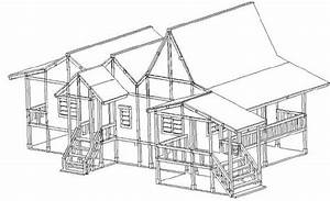 A Traditional House In Peninsular Malaysia  Cad Drawing