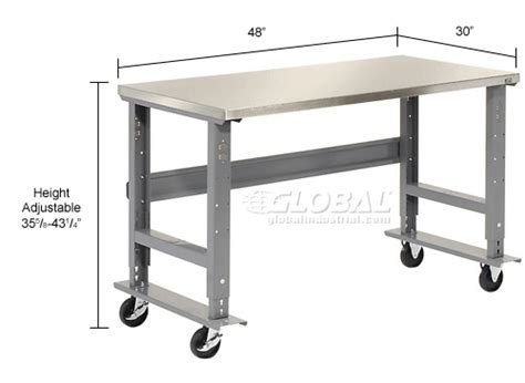 mobile work bench adjustable height global industrial