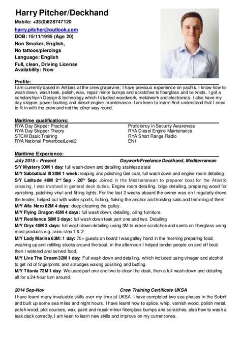Deckhand Resume by Harry Pitcher Cv