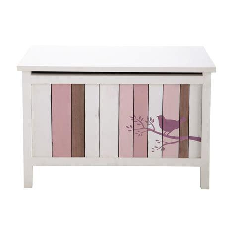 cassapanca rosa e in legno per bambini l 70 cm violette maisons du monde