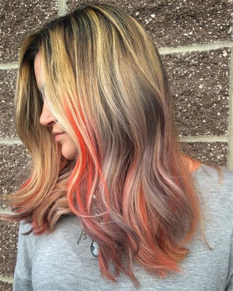 Bright Coral Pastel Coral Grey And Blonde Hair Color