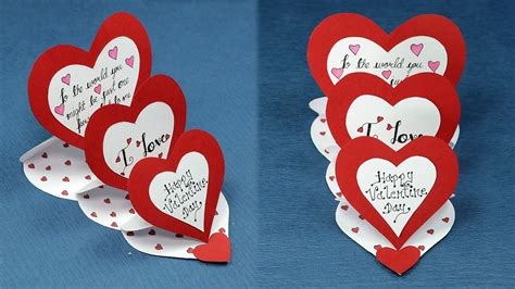 diy valentine card    triple easel heart