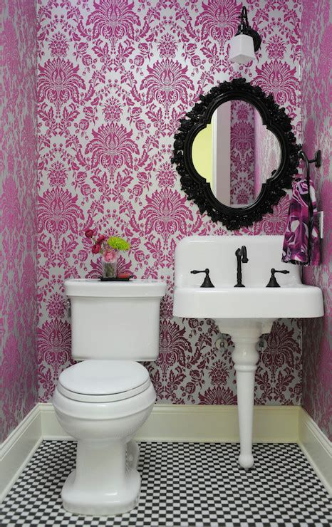 metallic flocked wallpaper contemporary bathroom anna forkum
