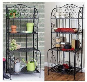 Outdoor Etagere by Brixton Indoor Outdoor Black Metal Folding Etagere Style