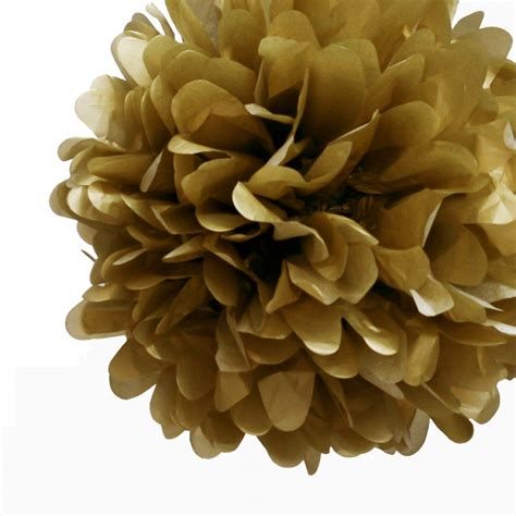20 Gold Tissue Paper Pom Poms Flowers Balls Decorations