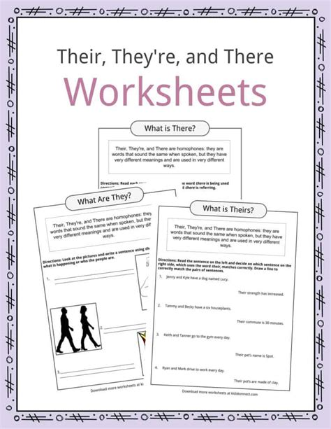 their they re and there worksheets exles
