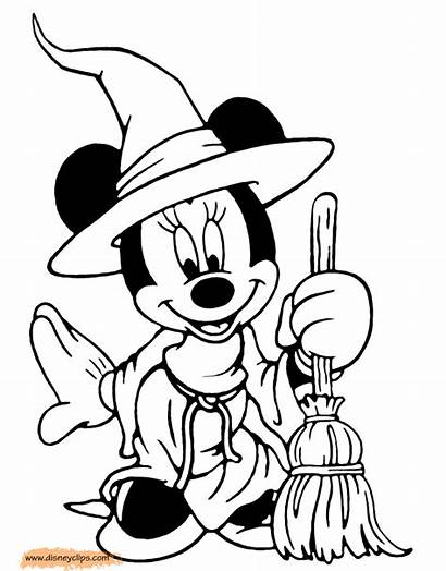 Mouse Minnie Witch Coloring Halloween Disney Pages